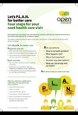 Let's P.L.A.N for better care - four steps for your next health care visit