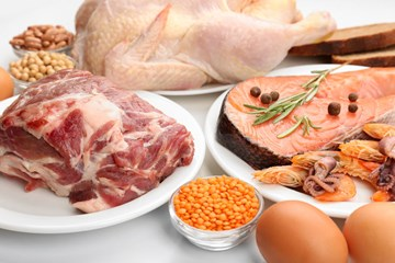 Lean meat, fish, eggs, legumes, nuts & seeds
