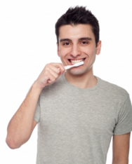 man cleaning his teeth