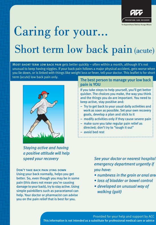 Caring for your short term low back pain (acute)