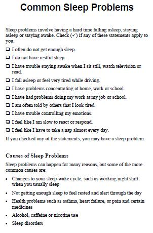 Common sleep problems
