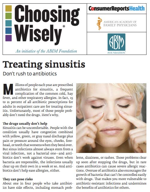 the benefits of using alternative medicine as an acute sinusitis treatment Alternative treatments for sinusitis alternative doctors will consider whether the benefits outweigh any risks of using treatment of acute sinusitis.