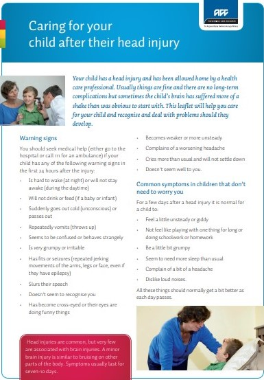 Caring for your child after their head injury