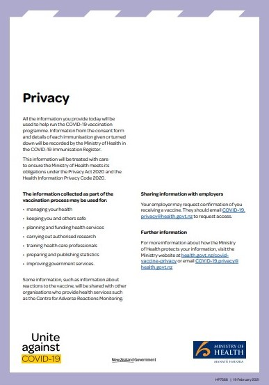 COVID-19 vaccine privacy statement