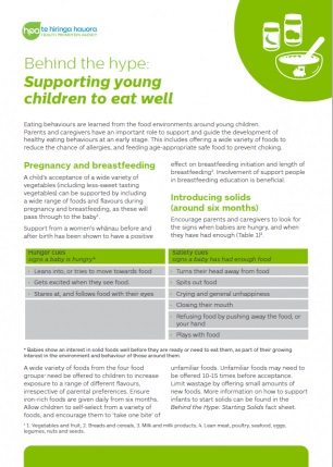 Supporting young children to eat well