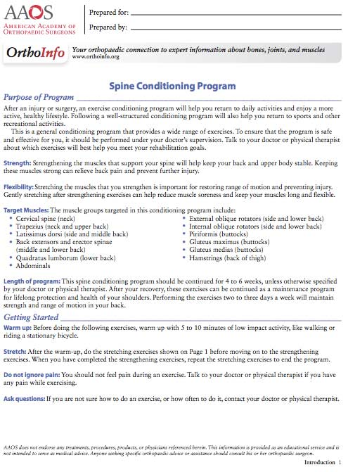 Spine conditioning program
