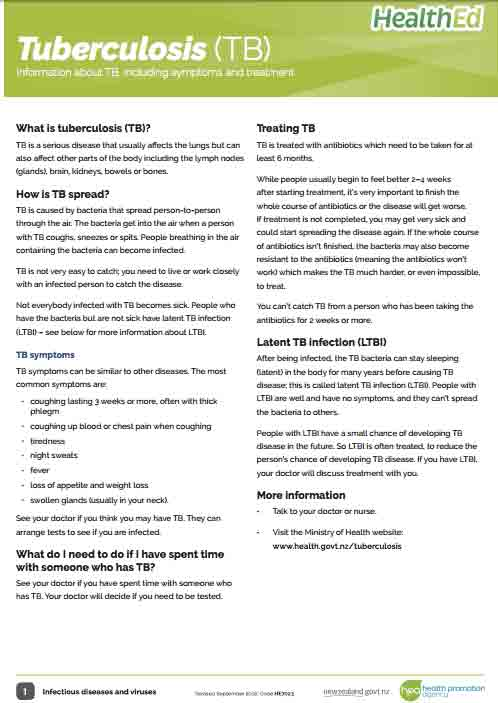 Tuberculosis factsheet – Information about TB, including symptoms & treatment