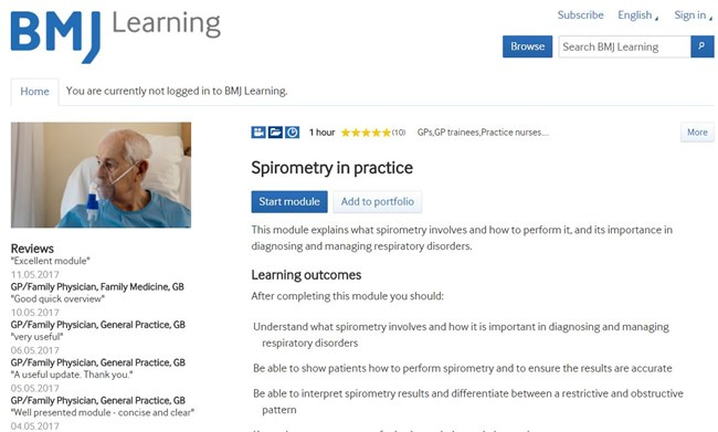 BMJLearning course on spirometry in general practice