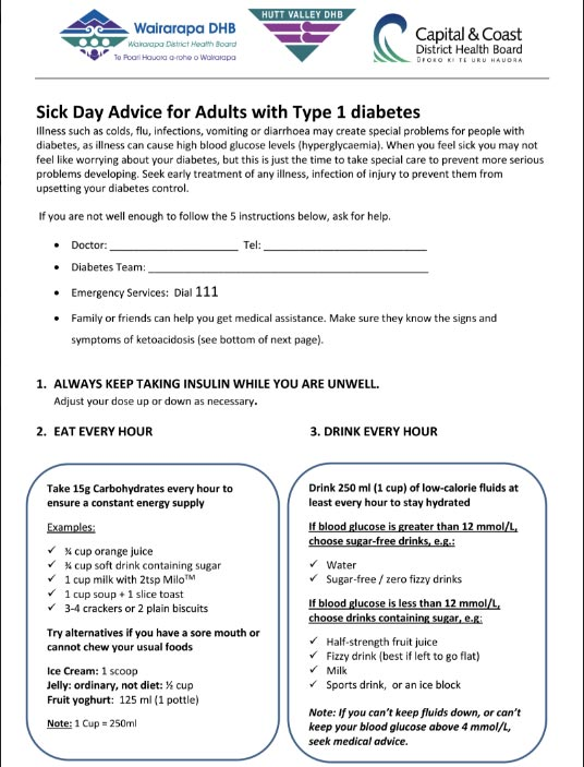Sick day advice for adults with type 1 diabetes