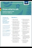 Know what to ask – Questions to get the most out of your healthcare