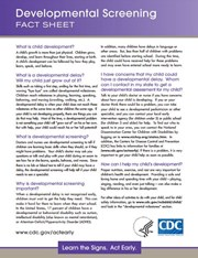 Developmental Screening Fact Sheet Brochure