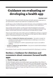 Guidance on evaluating or developing a health app