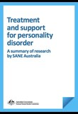 Treatment and support for personality disorder